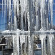 Stock Photo: The big white icicles during cold winter