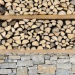 Wood and stone, wall background — Stock Photo
