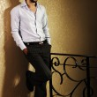 Stylish fashionable attractive young man, full lenght photo — Stock Photo