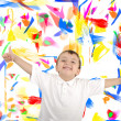 Children's drawing color paints on a wall — Stock Photo #21494321