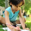Writing kid boy , outdoor — Stock Photo