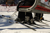 Riding on ski lift. Rear View. No Faces. Copy space. — Stock Photo