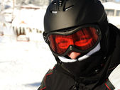 Skier with helmet on head — Stock Photo
