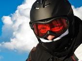 Skier with helmet on head — Stock Photo
