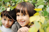 Happiness without limit, happy children together outdoor, closeup — Stock Photo