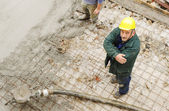 Working with cement outdoor — Stock Photo