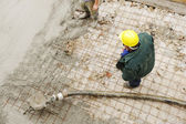 Working with stucco and cement outdoor — Stock Photo