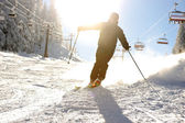 Beautiful scene, skier silhouette — Stock Photo