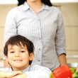 Mother And Children Prepare A meal,mealtime Together — Stock Photo