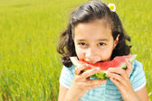 Cute little girl eating watermelon on the grass in summertime — Stock Photo