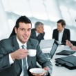 Stock Photo: Businessmin business ambience drinking cofee