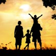 Silhouette, group of happy children playing on meadow, sunset, s — Stock Photo #21532455
