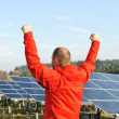 Royalty-Free Stock Photo: Success, engineer in solar panel fields with arms up