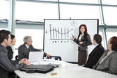 Businesswoman drawing a diagram during the presentation at offic — Stock Photo