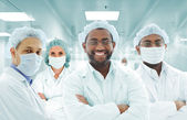Scientists arabic team at modern hospital lab, group of doctors — Foto de Stock