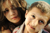 Little brother and sister, poverty , bad condition — Stock Photo