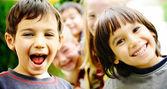 Lycka utan gräns, glada barn tillsammans utomhus, ansikten, — Stockfoto