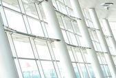 Steel and glass on building interior — 图库照片
