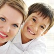 Family portrait of mother and son at home — Stock Photo