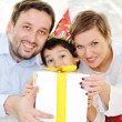 Happy family celebratin son's birthday — Stock Photo