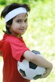 Young boy with soccer outdoor — Stock Photo