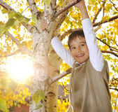 Happy kid in autumn park portrait — Stock Photo