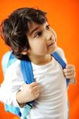Little school cute boy with backpack — Stock Photo