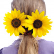 Sunflower on hair — Stock Photo