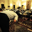 Salat layl - praying in mosque at night — Stock Photo