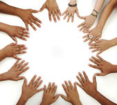 Many hands on white background — Stock Photo