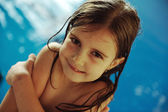 Little girl at pool — Stock Photo