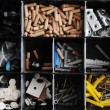 Toolbox with arranged screws and small pieces equipment — Stock Photo #26230099