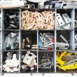 Toolbox with arranged screws — Stock Photo