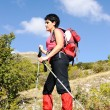 Nordic Walking in Autumn mountains, hiking woman — Stock Photo