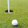 Golf ball on green grass — Stock fotografie