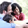Father and his children having good time at home — Stock Photo