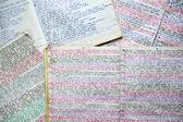 El yazısı renkli notebook — Stok fotoğraf