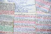 Handwriting colorful notebooks — Stock Photo