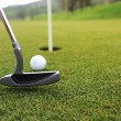 Golf ball and stick on green grass — Stock Photo #26240295