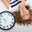 Girl and clock silence secret — Foto Stock