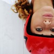 Funny girl with red helmet — Stock Photo