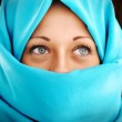 Young woman with blue scarf — Stock Photo #26242597