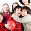 Group of happy playful children in studio — Stock Photo #26243621