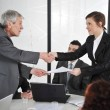 Happy business leaders handshaking at meeting — Stock Photo #26247499