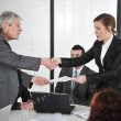 Happy business leaders handshaking at meeting — Stock Photo #26247525