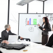 Business sitting on presentation at office. Businesswoman presenting on whiteboard. — Stock Photo #26248743