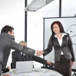 Hands shaking and making deal at office meeting — Stock Photo #26248881