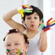 Mother play color hands son kid — Stock Photo