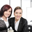 Portrait of two businesswomen in business meeting at office — Stock Photo #26249021