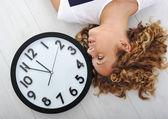 Girl and clock — Stock Photo